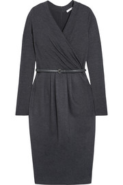 Wrap-effect wool-blend dress
