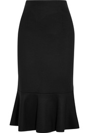 Wool peplum midi skirt
