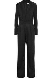 Draped wrap-effect stretch-wool jumpsuit