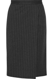 Eracle wrap-effect leather-trimmed pinstriped wool-blend skirt