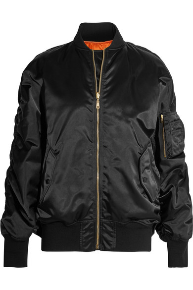 Balenciaga - Oversized Jersey-trimmed Satin Bomber Jacket - Black at NET-A-PORTER