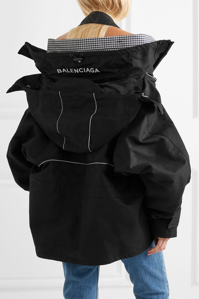 Balenciaga Swing Parka aus Shell mit Kapuze