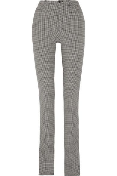 Balenciaga - Plaid Wool-blend Skinny Pants - Gray