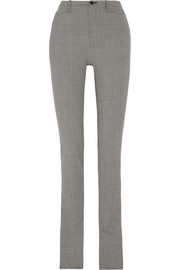 Plaid wool-blend skinny pants