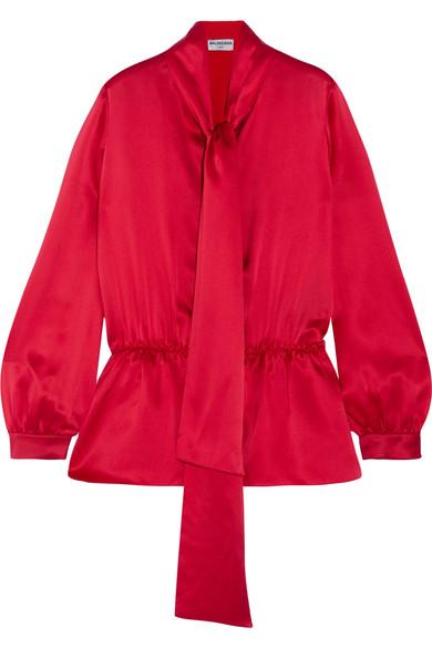 Balenciaga - Pussy-bow Silk-satin Top - Red
