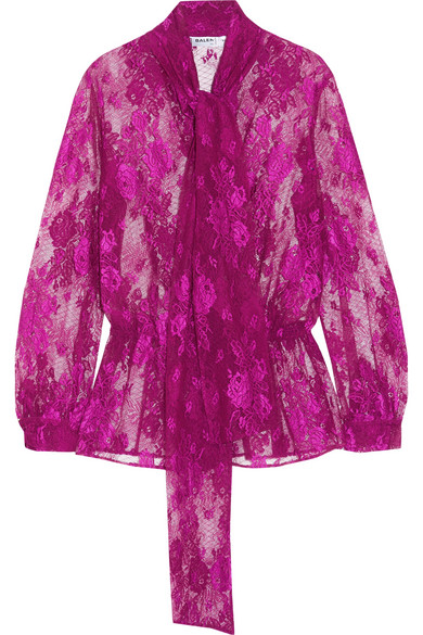 Balenciaga - Lavalliere Pussy-bow Stretch-lace Blouse - Pink