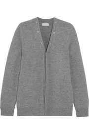 Convertible stretch wool-blend cardigan