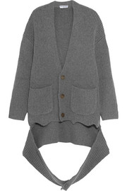 Balenciaga Oversized draped ribbed cashmere-blend cardigan