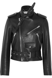 Scarf leather biker jacket