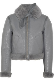 Bombardier Brilliant polished-leather and shearling jacket