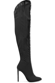 Leather-trimmed stretch-mesh over-the-knee boots