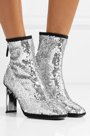 Giuseppe Zanotti Luce suede-trimmed sequined tulle ankle boots