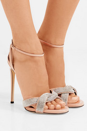 Giuseppe Zanotti Suede-trimmed crystal-embellished patent-leather sandals