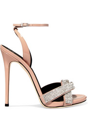 Suede-trimmed crystal-embellished patent-leather sandals