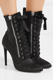 Giuseppe Zanotti Kamilya leather-trimmed satin ankle boots