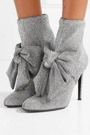 Giuseppe Zanotti Natalie embellished glittered stretch-knit sock boots