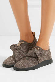 Giuseppe Zanotti Natalie glittered stretch-knit slip-on sneakers