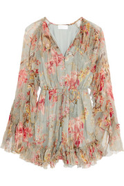 Mercer Floating ruffled floral-print silk-chiffon playsuit