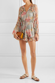 Zimmermann Mercer Floating ruffled floral-print silk-chiffon playsuit