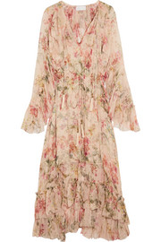 Mercer Floating ruffled floral-print silk-georgette dress