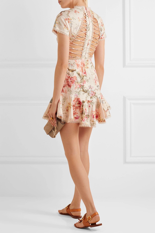 Zimmermann Mercer lace-up floral-print linen and cotton-blend mini dress
