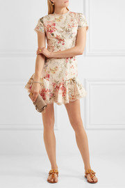 Zimmermann Mercer lace-up floral-print linen and cotton-blend mini dress