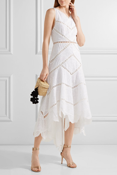 Zimmermann mercer fan asymmetric embroidered cotton midi for Zimmermann buro