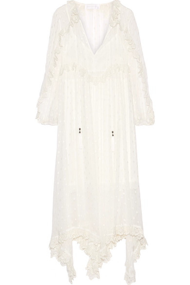 Zimmermann - Divinity Lace-trimmed Embroidered Silk-georgette Midi Dress - Ivory