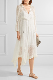 Zimmermann Divinity lace-trimmed embroidered silk-georgette midi dress