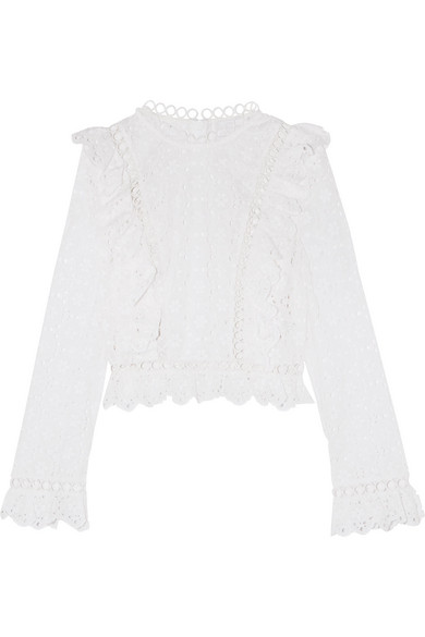 zimmermann female zimmermann divinity wheel ruffled broderie anglaise cotton top white