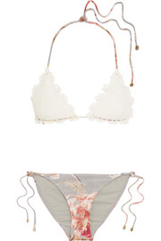 Zimmermann Mercer crocheted cotton and stretch-jersey triangle bikini