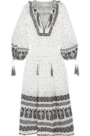Divinity tassel-trimmed embroidered linen midi dress