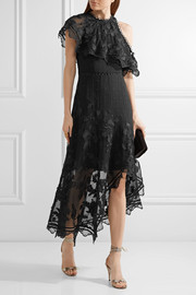 Mercer Bird Floating cold-shoulder appliquéd silk-chiffon dress