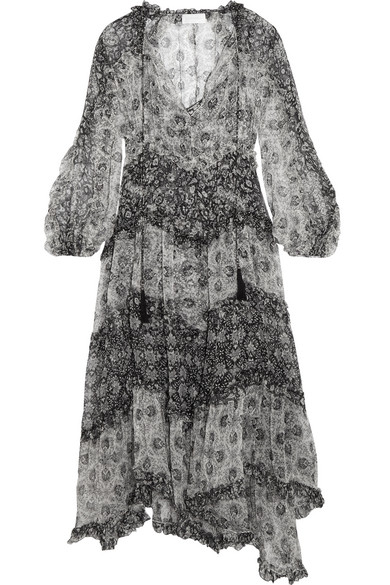 Zimmermann - Divinity Ruffled Floral-print Silk-chiffon Midi Dress - Black