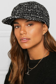 Darien metallic cotton-blend tweed baseball cap