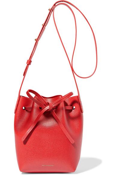 Mini Mini textured-leather bucket bag