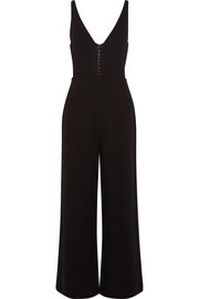 Leather-trimmed cutout wool-crepe jumpsuit
