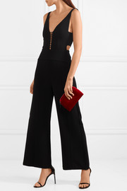 Narciso Rodriguez Leather-trimmed cutout wool-crepe jumpsuit