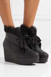Pedro Garcia Ubon shearling-lined leather wedge ankle boots