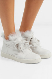 Pedro Garcia Parley faux fur-lined nubuck high-top sneakers