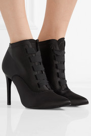 Pedro Garcia Ana grosgrain-trimmed satin ankle boots