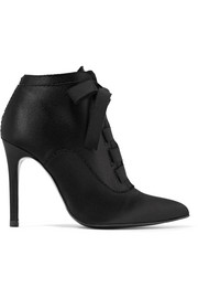 Ana grosgrain-trimmed satin ankle boots