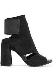 Pedro Garcia Yeca cutout leather-trimmed suede ankle boots