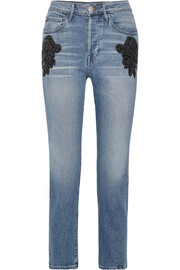 W3 cropped embellished high-rise straight-leg jeans