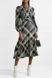 Pintucked checked hammered silk-satin midi dress