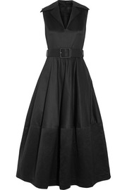 Belted cotton-sateen midi dress