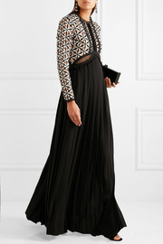 Self-Portrait Guipure lace and pleated crepe gown