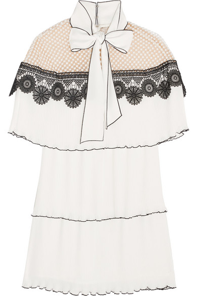 Self-Portrait - Pussy-bow Pleated Gazar And Guipure Lace Mini Dress - White