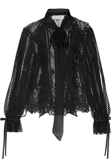 Self-Portrait - Pussy-bow Organza-trimmed Lace Blouse - Black
