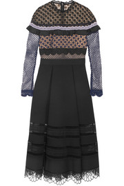 Guipure lace and pleated crepe midi dress